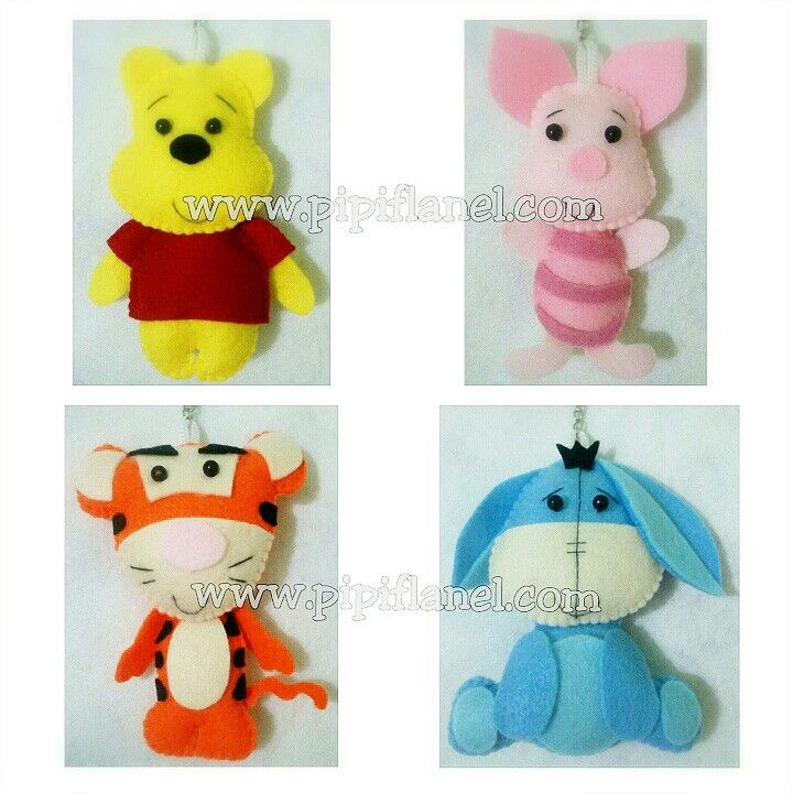 Winnie the pooh, piglet, tiger, and eeyore Feltdolls made by Pipi Flanel.. Wanna see our feltdolls collection? Please visit our website at www.pipiflanel.com thank you :)