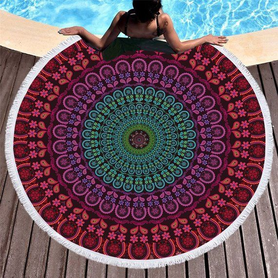Home & Garden Other Towels New 3d Unicorn Round Beach Towel Painting Tassel Tapestry Floral Yoga Mat Dreamlike Towel 150cm Toalla Blanket For Adults Kids
