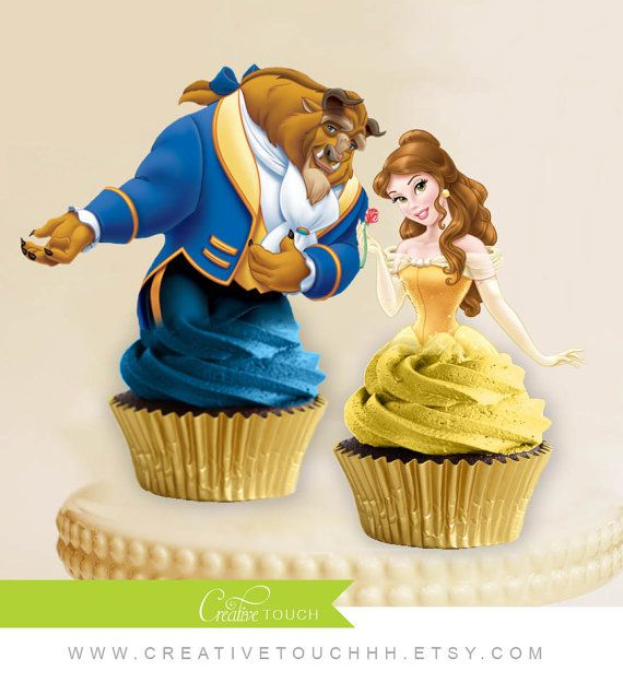 Belle Cupcake Toppers, Princess Belle, Beauty And The Beast, Disney Princess, Belle Birthday, Belle Party, Belle Cake Topper, Decoration