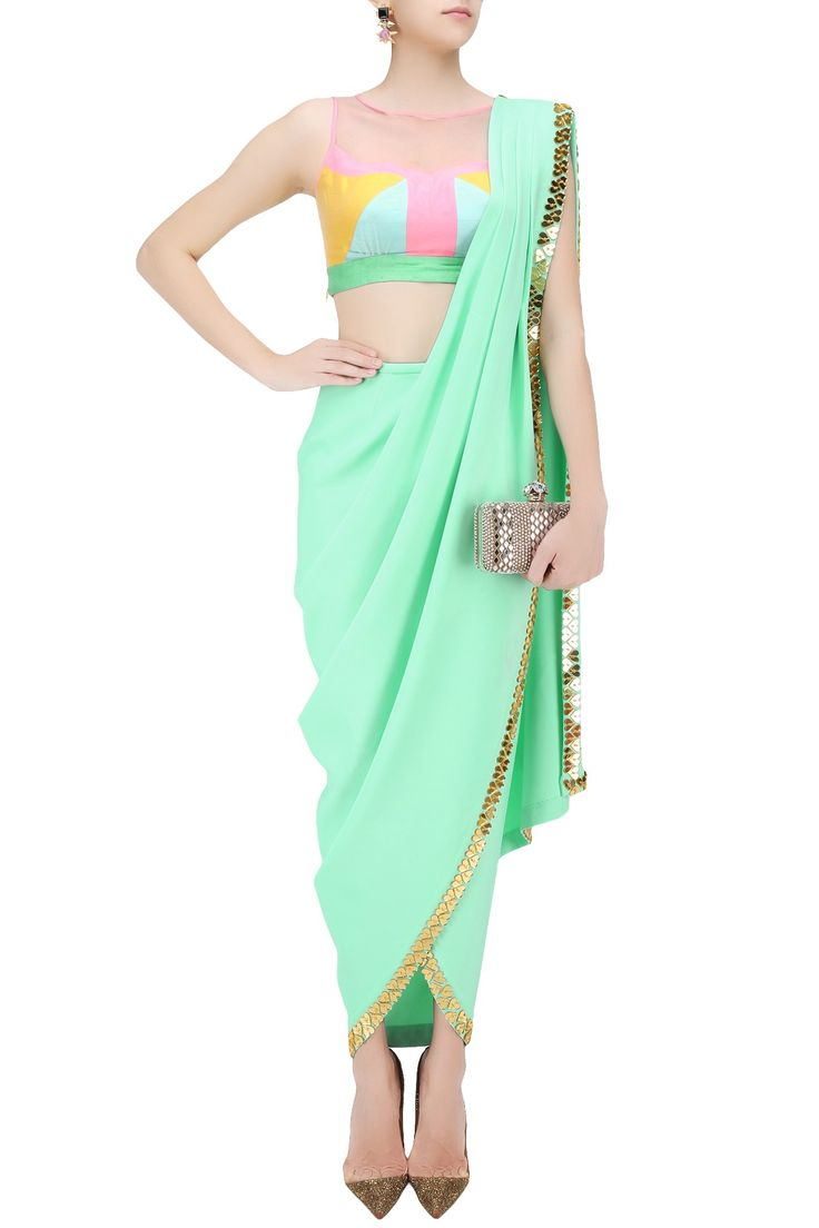 PAPA DON'T PREACH BY SHUBHIKA Mint green predraped dhoti saree with colorblock blouse available only at Pernia's Pop Up Shop.