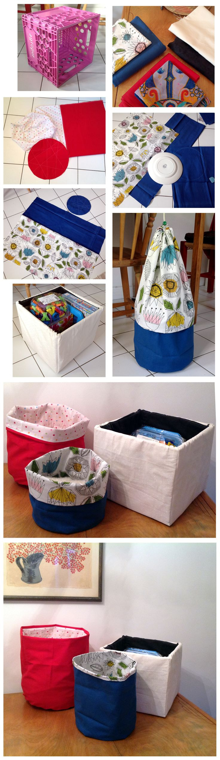 sewing, fabric boxes, panier en tissue, rangement, корзинки из ткани