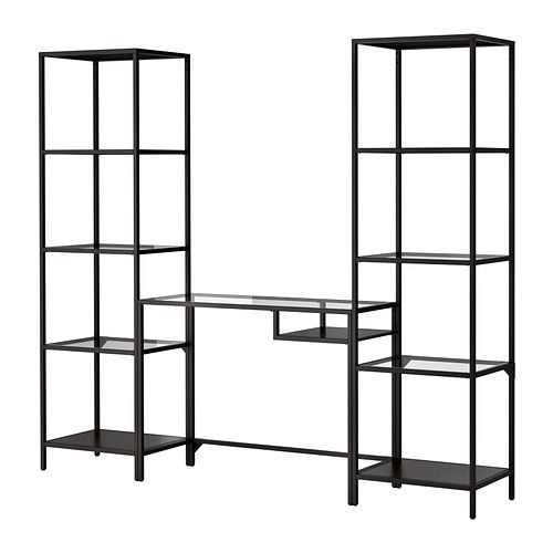 VITTSJÖ Shelving unit with laptop table IKEA Tempered glass and metal. Hardwearing materials that give an open, airy feel.