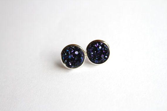 Dark Purple Blue Black Faux Druzy Glitter by alwaysanchors on Etsy