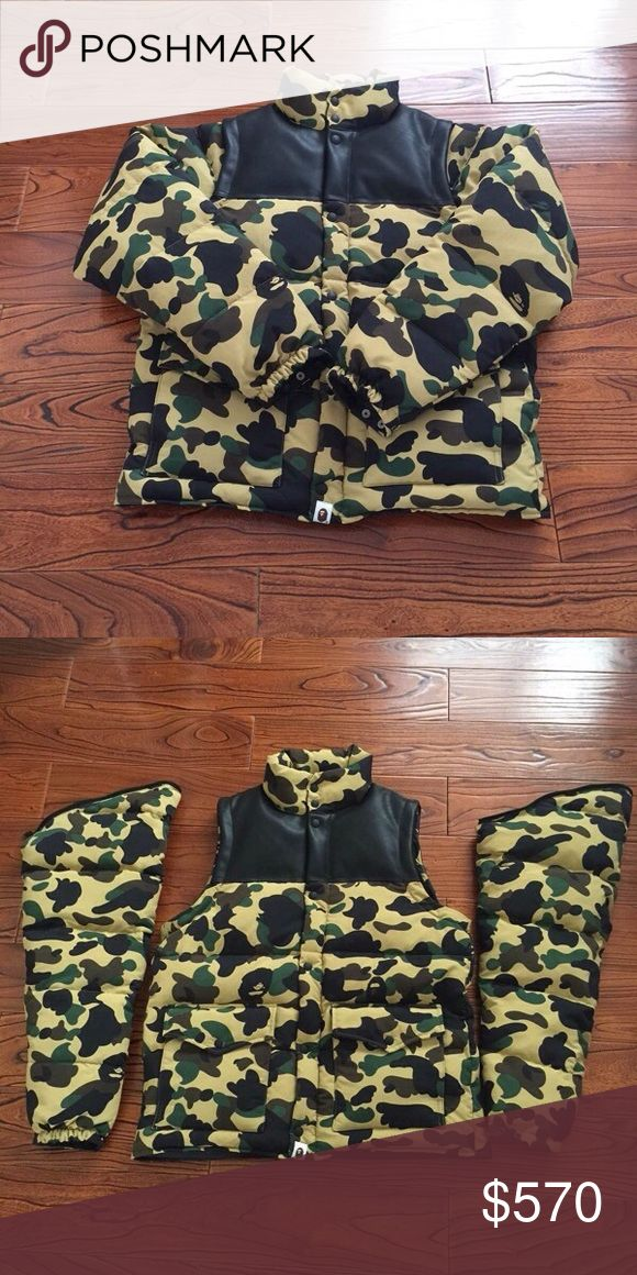 Bape camo jacket. Leather PayPal. Size L/XL. M can fit L Jackets & Coats Puffers
