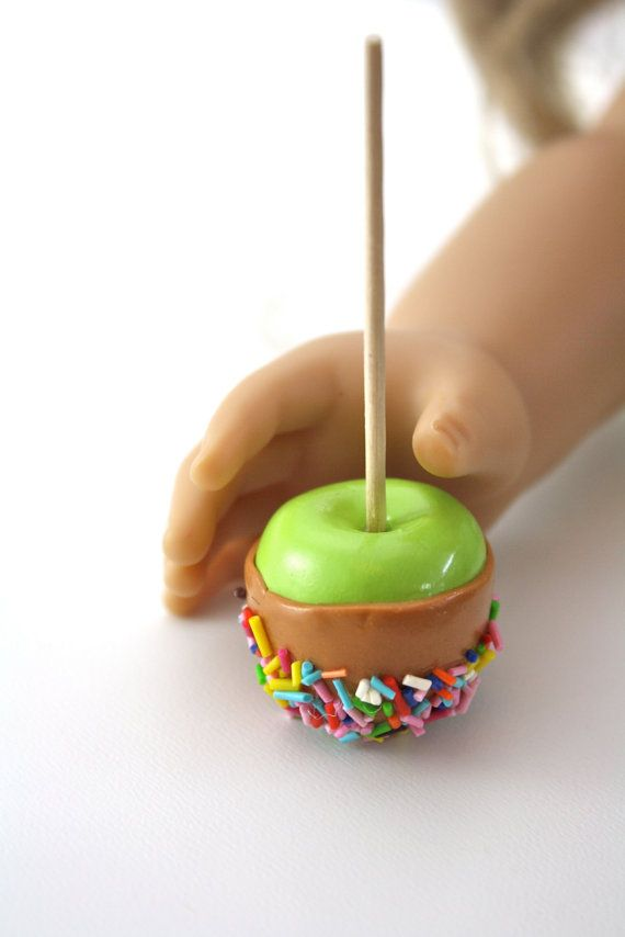 Caramel Candy Apple on a Stick with Sprinkles Food for American Girl Dolls