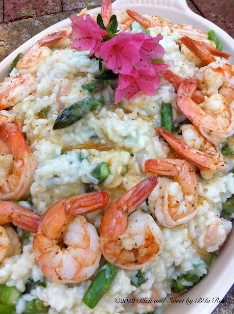 Seafood, Asparagus and Champagne Risotto. I cant wait to make this