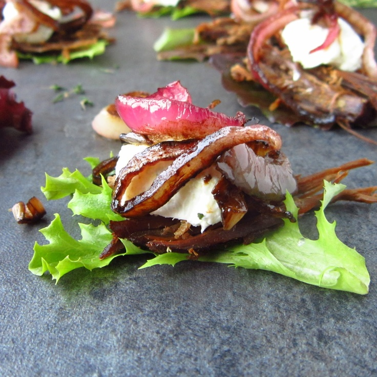 Beef Brisket in Beer with Herbed Goat Cheese and Balsamic Onion Bites ...