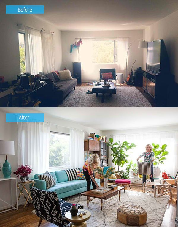 48 Impressive Before And After Photos Of Living Room Remodels Impressive Living Room Turquoise Remodelling