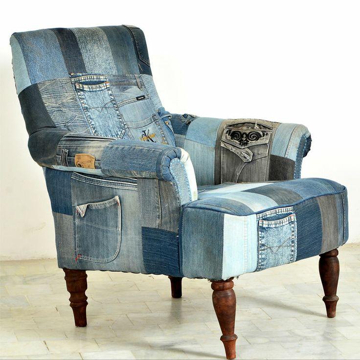 Sessel Relaxsessel Fernsehsessel Indigo Patchwork Jeans groß klein modern NEU