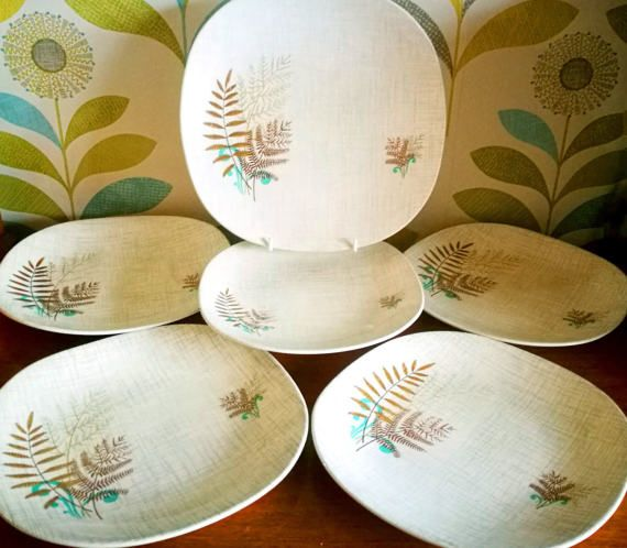 Mid century china plates, set of 6 J & G Meakin Rock Fern pattern lunch plates, side plate, dinner plate, Mid century kitchen vintage plates