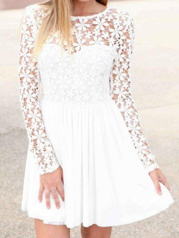 Stylish Jewel Neck Lace Splicing Long Sleeve Backless Dress For Women Chiffon Dresses | RoseGal.com Mobile