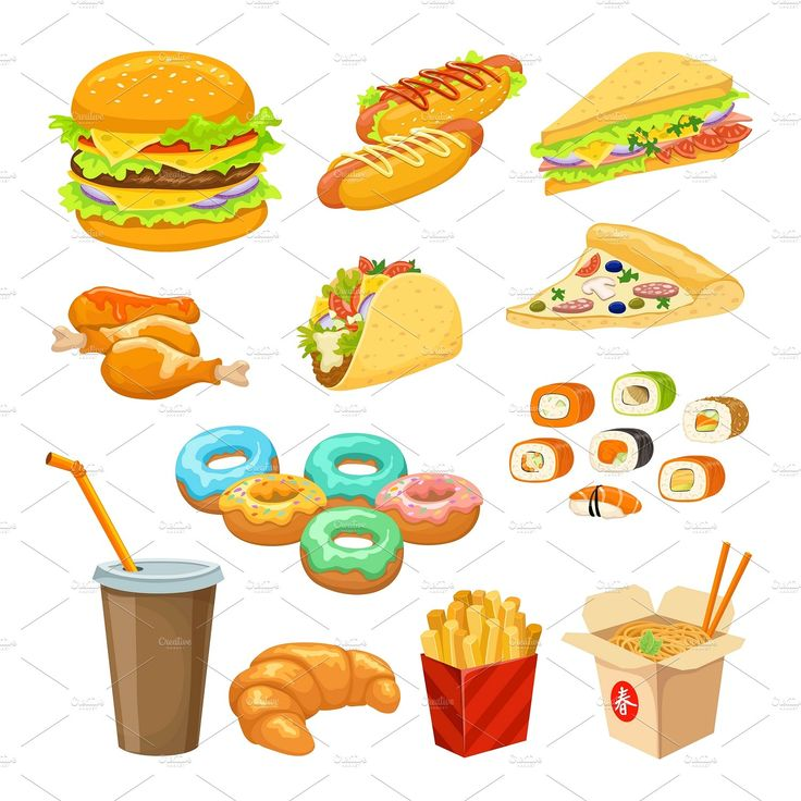 Fast Food Colorful Objects Set - Icons - 1