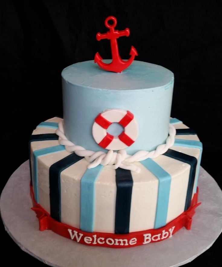 Sailor themed baby shower cake - Cake by Bella's Desserts