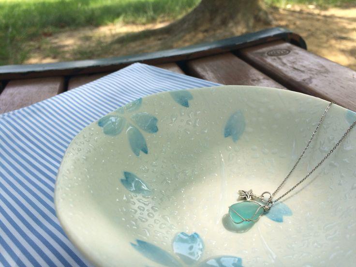 seaglass necklace / silver chain / starfish charm / Gampo seashore / South Korea