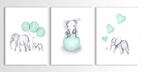 Elephant Nursery Decor, Baby Elephant, Baby Safari Animals, Mint Green - Set of Three Art Prints