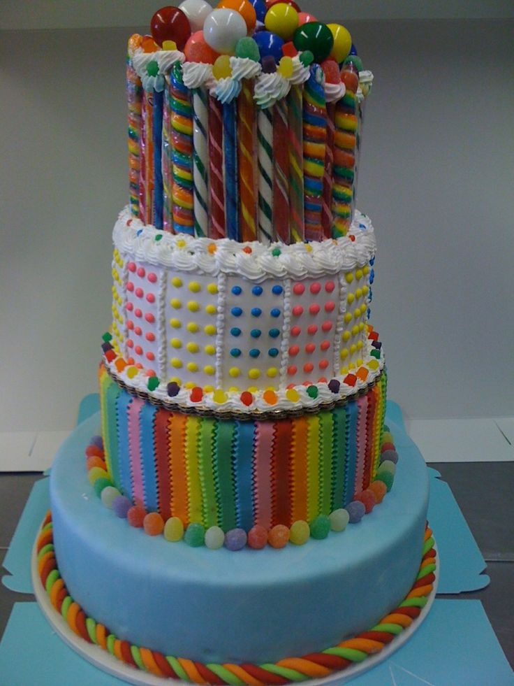 Everything you need to decorate this cake can be found on candyfavorites.com (licorice, gumballs, gum drops, buttons, candy sticks)