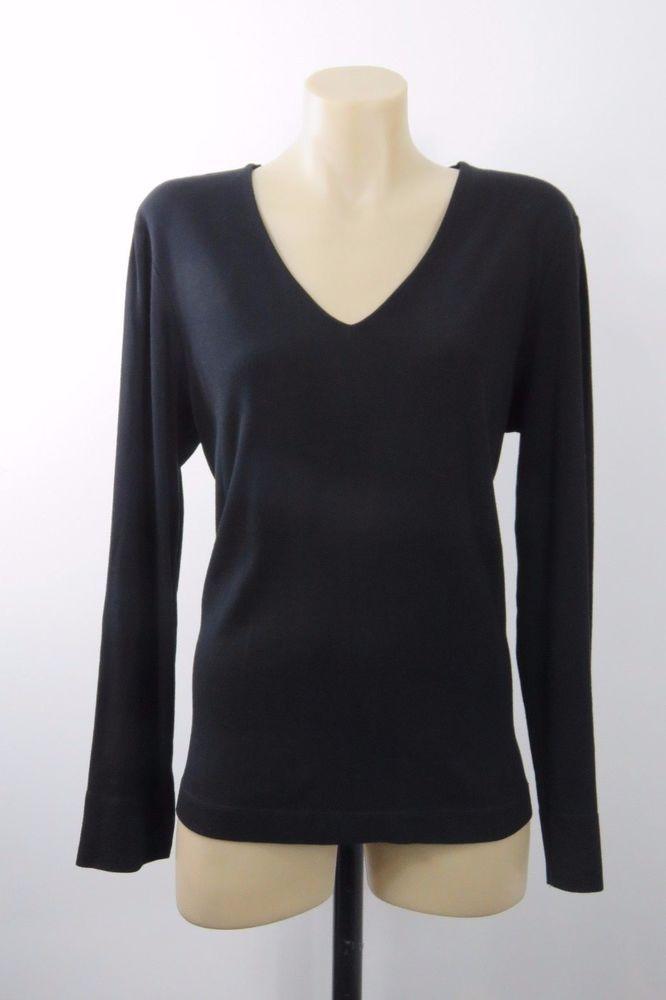 Size L 14 Sportscraft Ladies Black Knit Top Jumper Business Cocktail Chic Design #Sportscraft #Blouse #Career