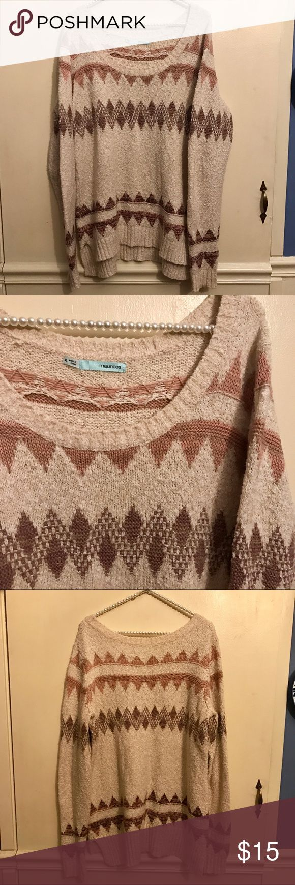 Maurices Soft Oatmeal Aztec Print Sweater Size XL This sweater is the definition of soft and cuddly. From Maurices, this oatmeal colored sweater has a triangular Aztec design is shades of brown. The sweater has a wide scoop neck and is styled longer in the back. Perfect to pair with your favorite skinny jean or leggings. Great condition with no damage or stains. Size XL. 59% cotton, 28% acrylic and 13% polyester. Maurices Sweaters Crew & Scoop Necks
