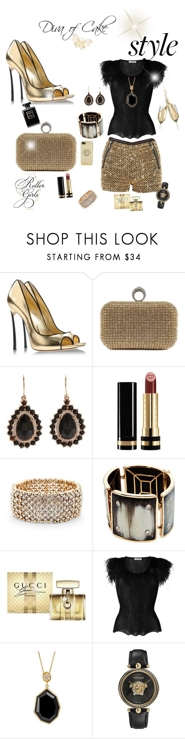 """Sexy and Elegant outfit black and gold"" by Diva of Cake  featuring Casadei, Irene Neuwirth, Gucci, Sole Society, Maiyet, Philosophy di Lorenzo Serafini, SOPHIE MILLER and Versace"