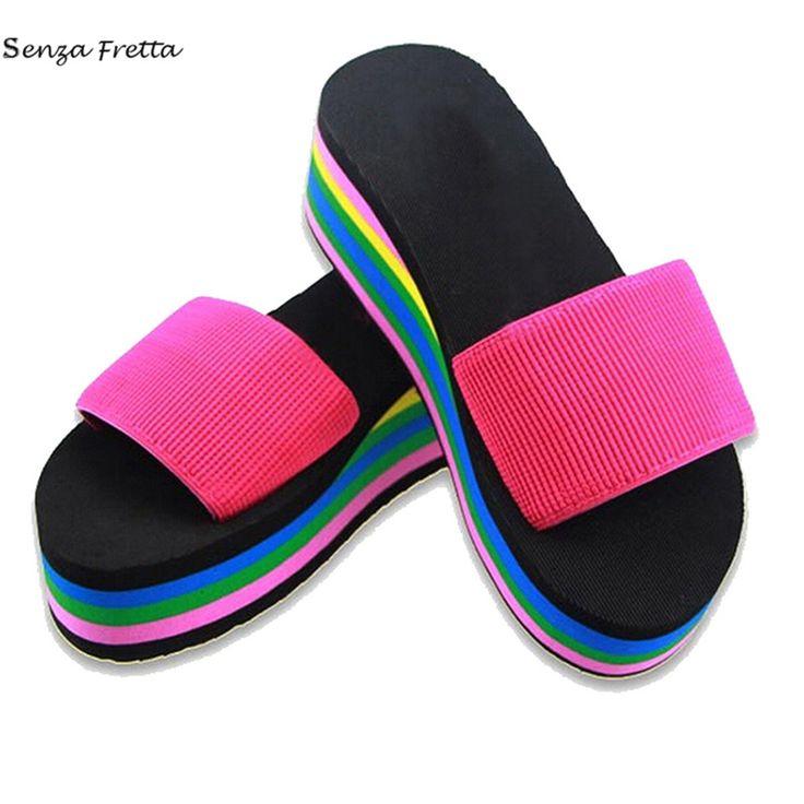 New Summer Non-Slip Female Slippers Women Flip-Flop Rainbow Sandals Platform Indoor Flip Flops Slippers Sandals LDD0024