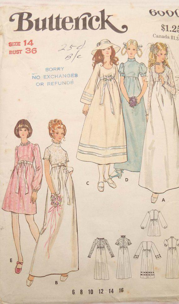 Butterick 6000 - Boho Dress Pattern - 1970s Dress Pattern - 1970s ...