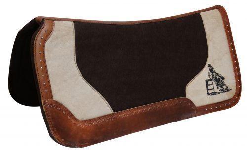 "Showman Felt 31' x 31"" Embroidered BARREL RACER Oversize Wear Leather SADDLE PAD"