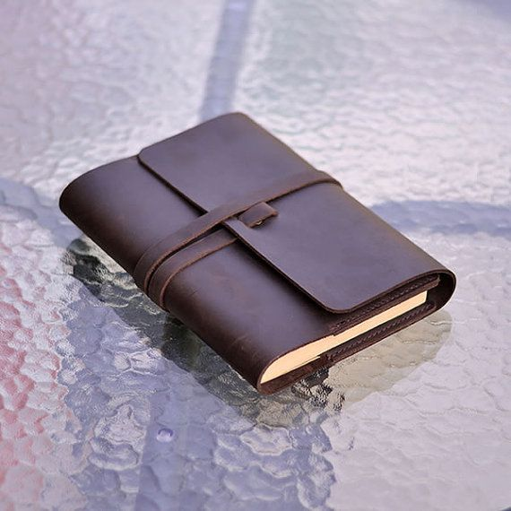 Leather Journal with Tie Handmade Blank Notebook by CLWorkshop