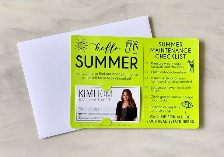 SET of Hello Summer Mailers with Envelopes Business Card