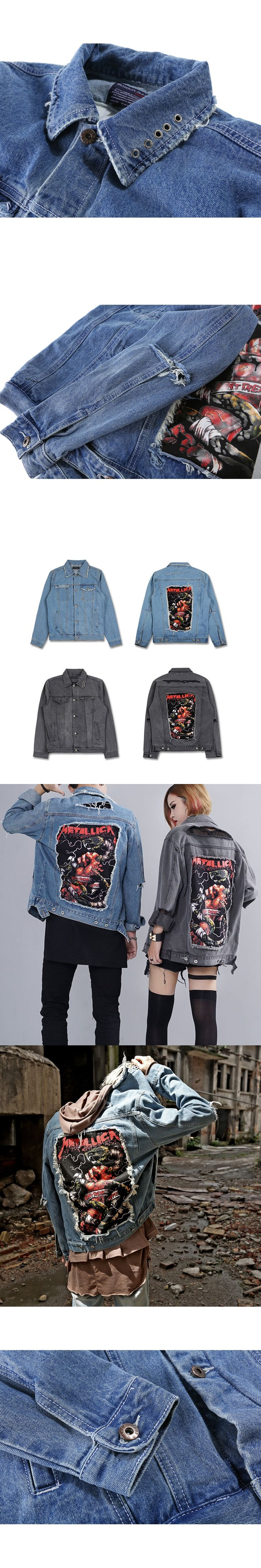 Mens Denim Jackets 2017 Streetwear Oversize Brand-Clothing Patch Holes Patch Designs Ripped Washed Jacket Hip-Hop Tide M-XL