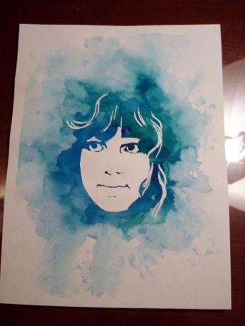 Watercolor Stencil Portrait + TUTORIAL #diy #crafts