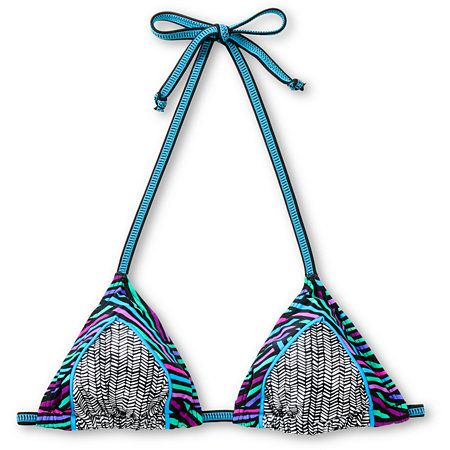 Dive in to summer style with the Oasis Criss Cross triangle bikini top from Empyre Girl. Fully adjustable with black and blue back and neck ties, this string bikini is loaded with cool colors and bold striped patterns. With black and white chevron, blue piping, and black, blue, pink, and mint crisscross stripes along the border, the Empyre girl Oasis bikini top brings your summer into action.
