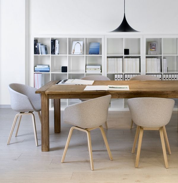 The Hay About a Chairs and Gubi Semi Pendant look stylish together http://www.nest.co.uk/browse/brand/hay/hay-about-a-chair-upholstered-armchair-with-wooden-base http://www.nest.co.uk/product/gubi-semi-pendant-light
