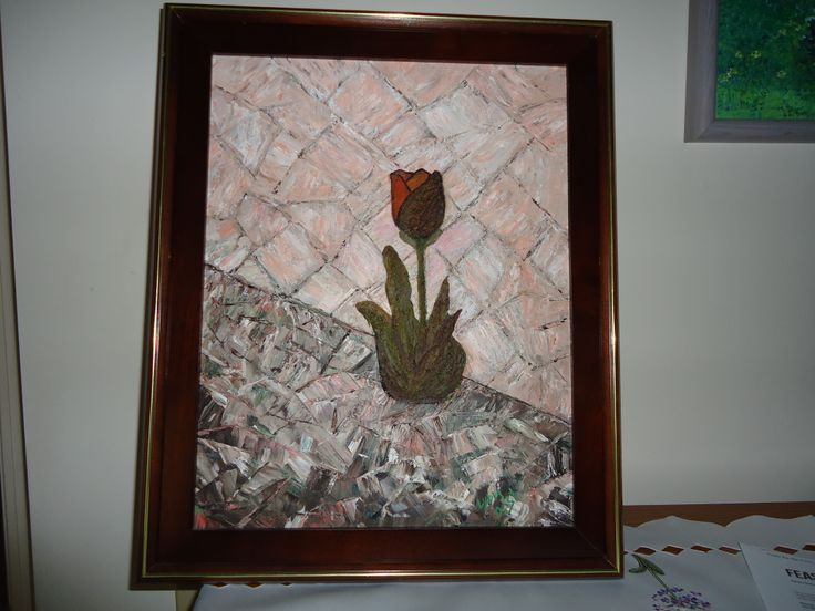 Tulip by the Wall done with Palette Knife