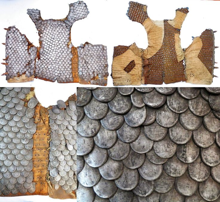 Polish-Lithuanian karacena armour (scale cuirass), detail view, late 17th - early 18th century. A very rare karacena armour characteristic to hussar officers, metal scales attached to a leather. Original leather is unstable. some later repair of leather, probably from 19th century.
