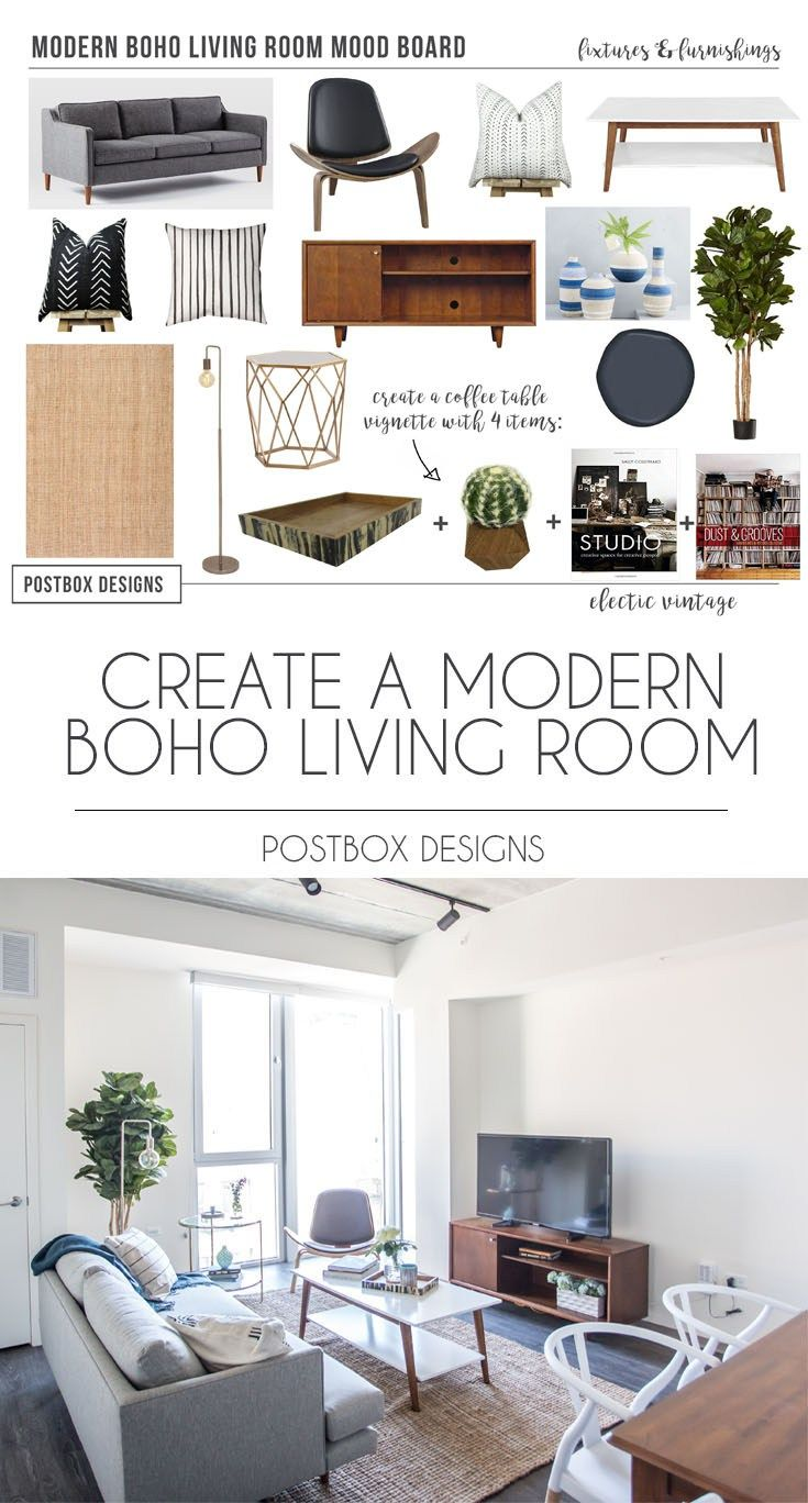 Postbox Designs Interior E Design Modern Boho Living Room Makeover