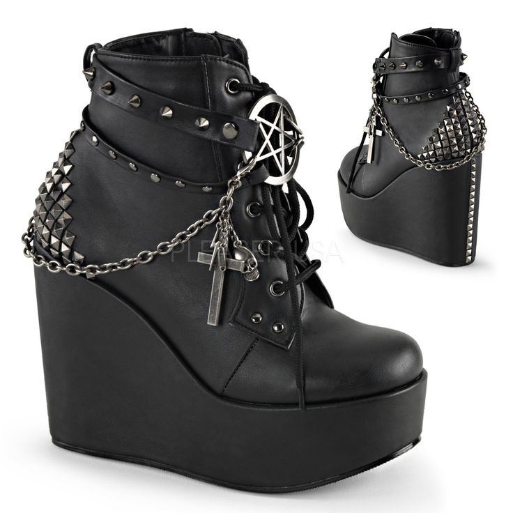"""5"""" Wedge Platform Lace-Up Front Ankle Bootie Featuring Wrap Around Studded Straps w/Pentagram Detail, Chain w/Charms of Cross, Skull, Lighting bolt, Safety Pen & Pyramid Studs at Back, Inside Zip Closure"""