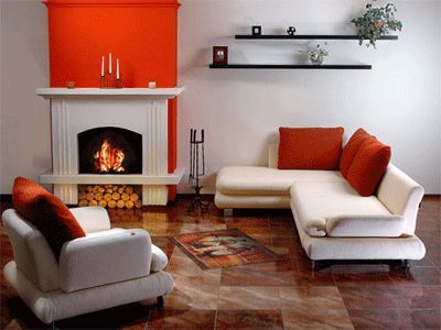 Orange Accent over Fire Place
