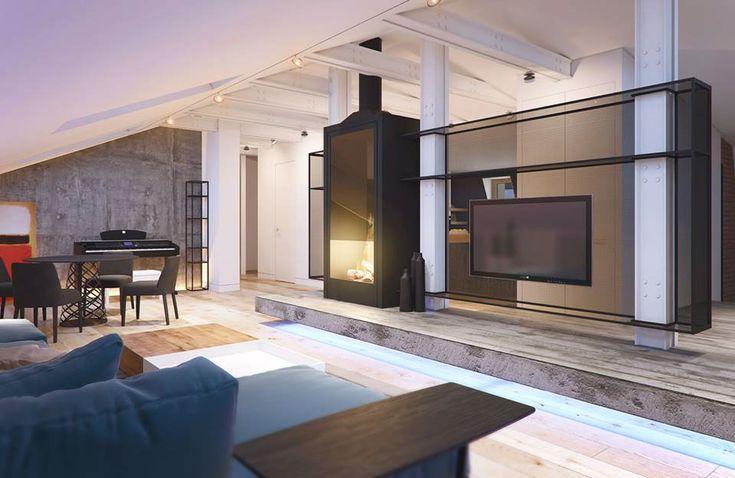 En el ambiente principal se ubican el living, el comedor y el escritorio. Una estructura de malla metálica divide el living del hall de entrada, da soporte al televisor y aloja una estufa de líneas modernas.