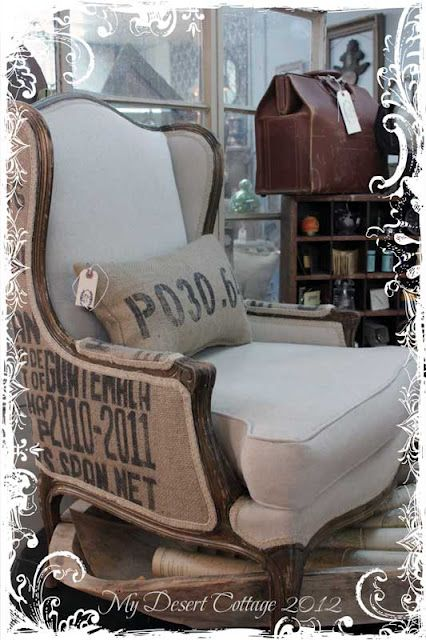 Sweet Salvage display.... I love love love love this chair!  I just bought one at goodwill for ten bucks and THIS is how I want to reupholster it!!