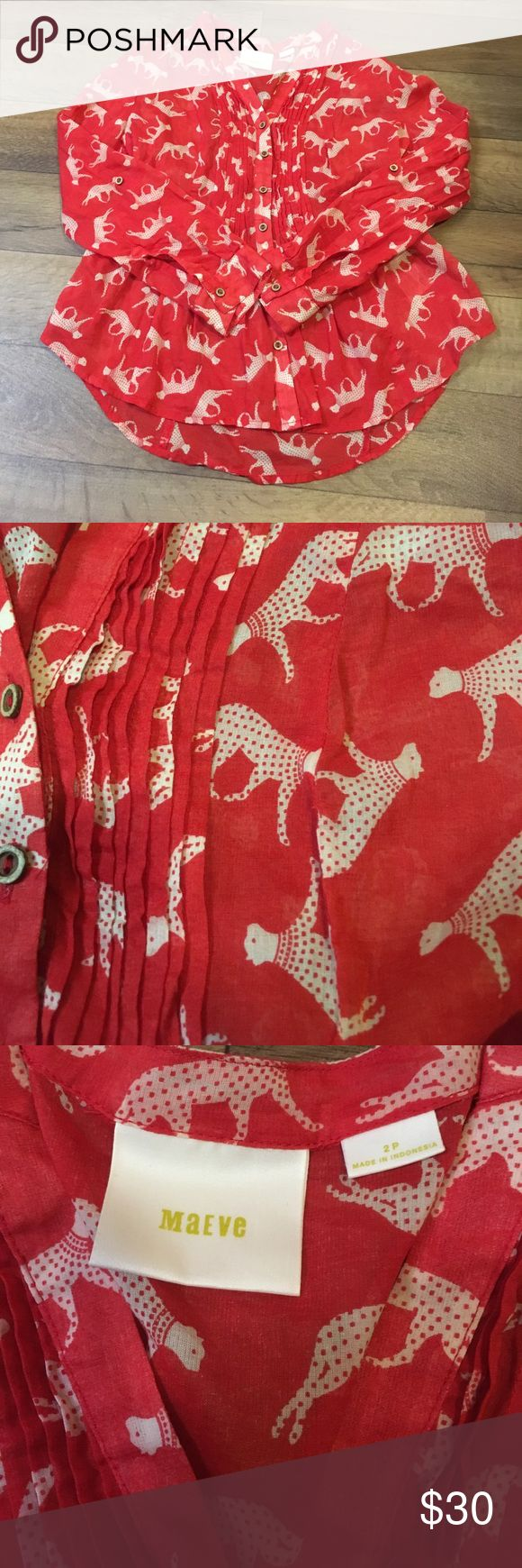 Anthropologie Blouse Anthropologie Brand Maeve lightweight cheetah Blouse in size 2P Anthropologie Tops Blouses