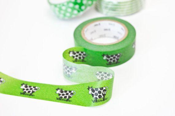 Farm Washi Tape - Dairy Cow Masking Tape - Green Lisa Larson mt Tape in Australia