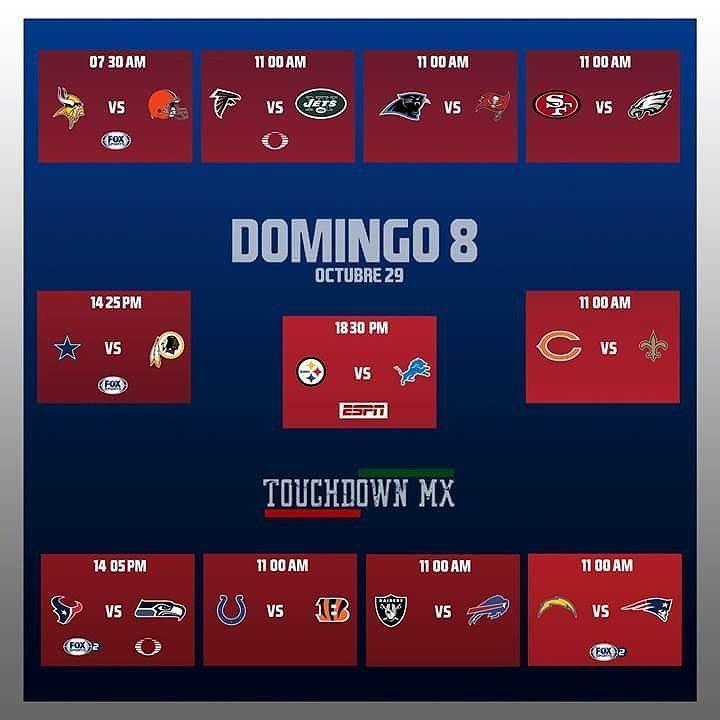 Horarios y canales de transmisión de los juegos de la NFL de la Jornada Dominical 8.  #touchdownmx #touchdown #cleveland #baltimore #chicago #tampabay #minnesota #pittsburgh #newengland #neworleans #philadelphia #kansascity #tennessee #jacksonville #arizona #indianapolis #buffalo #carolina #newyorkcity #oakland #miami #losangeles #sanfrancisco #seattle #washingtondc #dallas #denver #greenbay #atlanta
