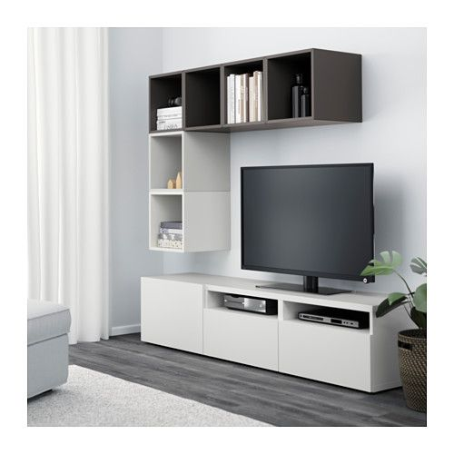 Best eket mueble tv con almacenaje armario blanco for Mueble escalera ikea