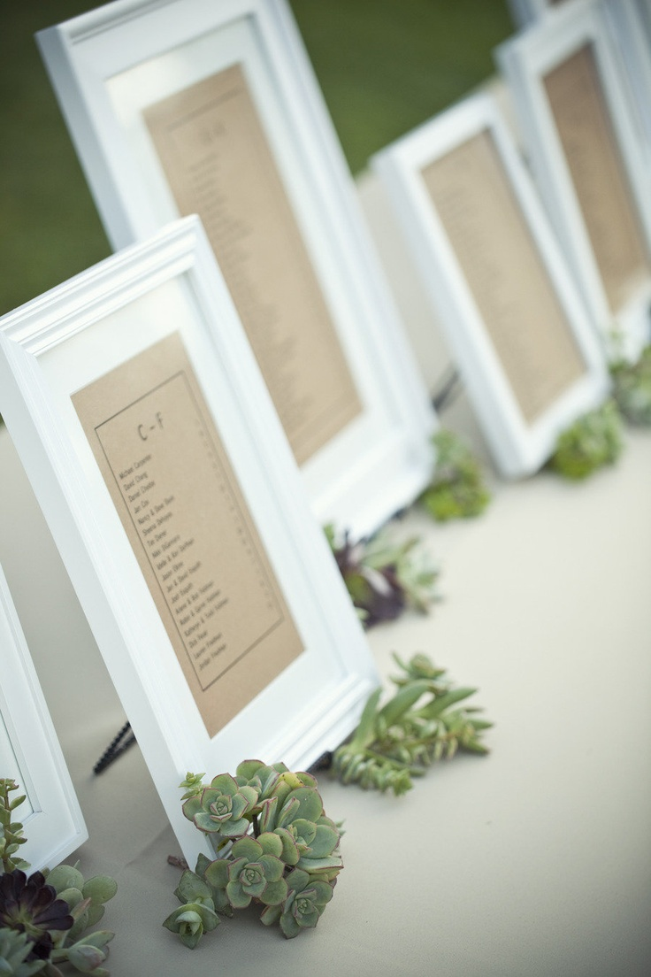 framed alphabetized seating chart - clean, decorative, less rustic, more romantic look