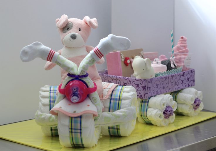 Luxury Baby Gift, Diaper Tricycle with Wagon.  www.RsBabyBaskets.Etsy.com