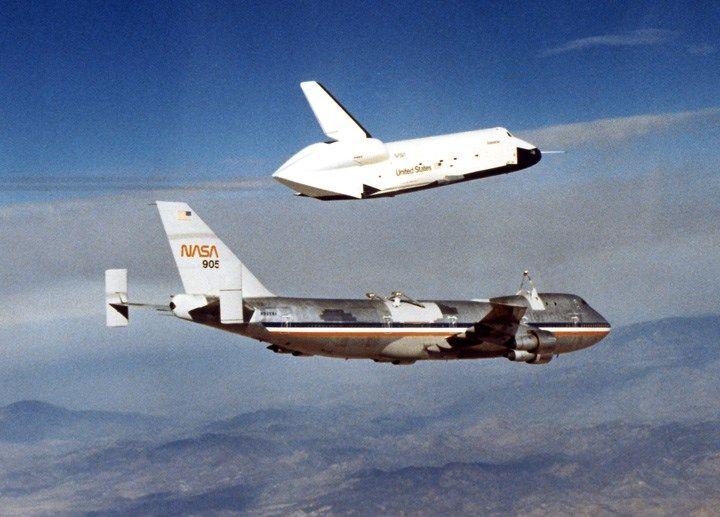 "NASA - Boeing 747-123 (N905NA) (c/n SCA905) with Space Shuttle ""Enterprise"" (OV-101) Doing Glide Experiments (1)"