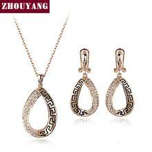 Zhouyang zys357 padrão clássico retro cor de rosa de ouro colar de jóias brinco de strass set feito com cristais austríacos alishoppbrasil