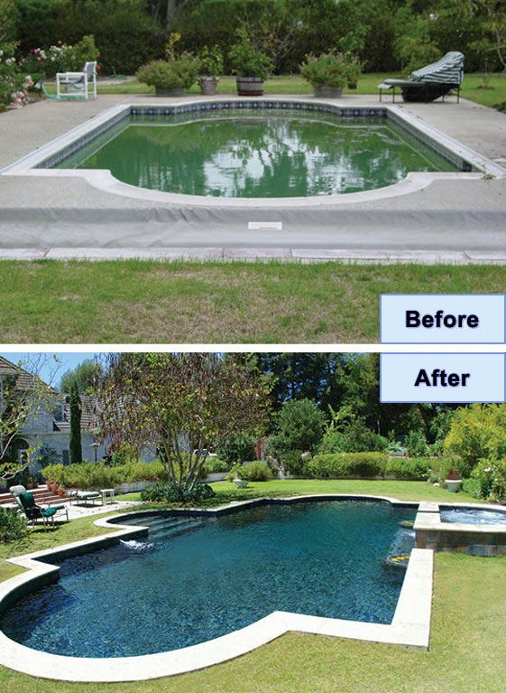 Swimming pool before after pictures google search pool and patio renovations pinterest for Swimming pool renovation ideas