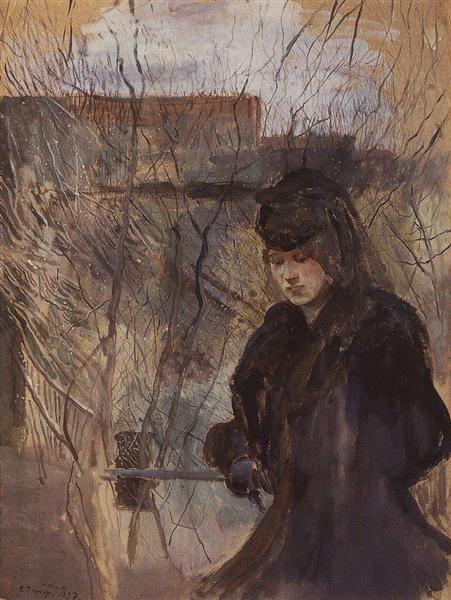 Konstantin  Somov(Russian,1869-1939) Lady with a Spring Landscape,1897. Константин - Сомов (русский, 1869-1939)Дама с весенним пейзажем ,1897.  康斯坦丁 - 索莫夫(俄语,1869-1939) 1897年春季景观的女士。