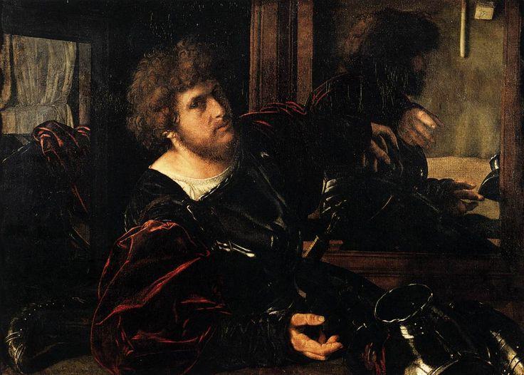 Giovanni Gerolamo SAVOLDO Brescia, 1480/85 - après 1548 Autoportrait, dit autrefois Portrait de Gaston de Foix  Vers 1525  peintre se représente en armure ds espace clos où 2 miroirs reflètent son image + reflet de sa main ds la pièce d'armure. recherche s'inspire expériences de Giorgione sur l'image reflétée, thème au centre du débat sur rivalité Sculpture/Peinture pr représentation de nature : Sculpture permet de rendre vol, Peinture ajoute couleurs, signe mm de vie. Coll. de Frs Ier…